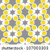 Egg seamless pattern. Grey background - stock photo