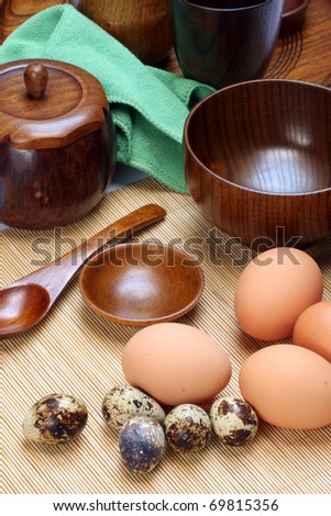 Eggs and quail eggs