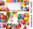 Eggs colored for Easter with spring flowers and decorations - stock photo