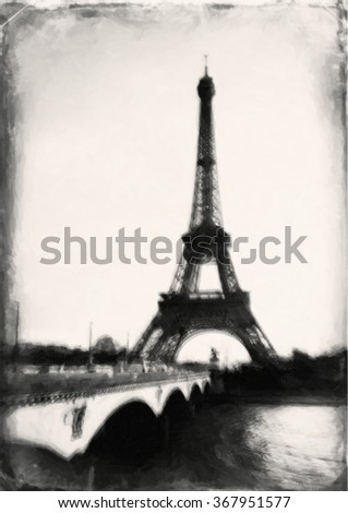 Eifel tower in drawing stylization