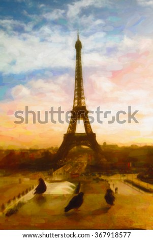 Eifel tower view. Drawing stylization.