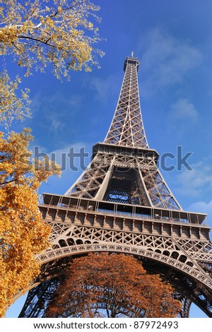 Eiffel Tower at sunny autumn day in Paris, France
