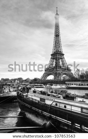 Eiffel Tower River View with Boat