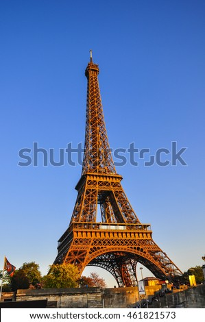 Paris may 22 eiffel tower brightly stock photo 108818438 for Where to stay in paris for the first time