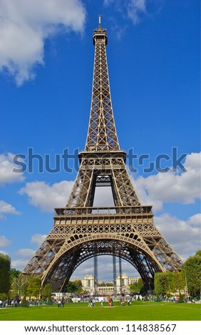 Eiffel tower view with the blue sky as a background