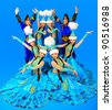 Eight people in the Kazakh national costumes - stock photo