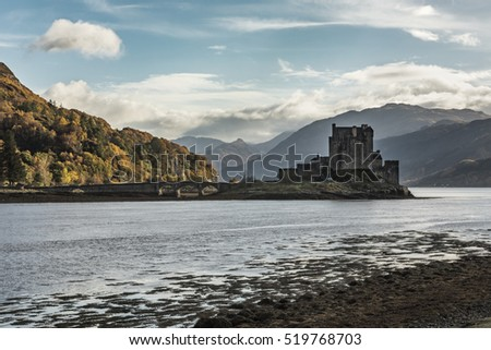 Eilean Donan Castle view from the North at low tide