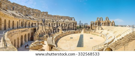 EL JEM, TUNISIA - SEPTEMBER 1, 2015: The visiting of amphitheatre is the important part of every tourist road, on September 1, in El Jem.