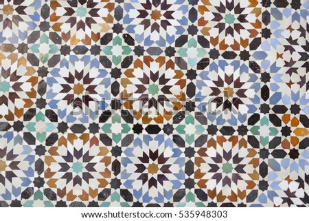 Elaborate Moroccan wall tile pattern