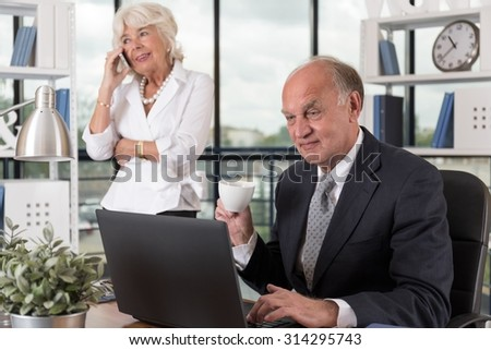 Elder business partners during thier work in the office