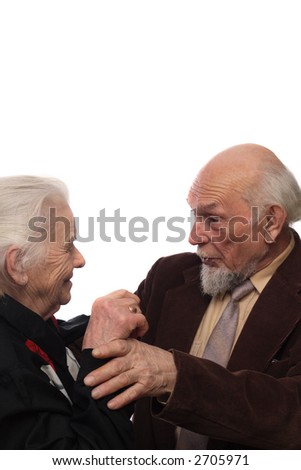 Elderly woman and man meeting after long having-not-seen each other