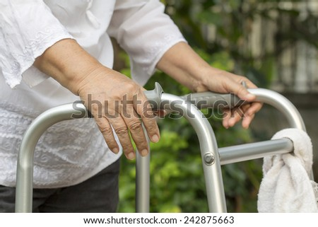 Elderly woman using a walker