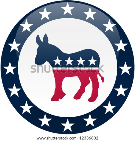 Election themed round button with 3d effect, Democratic party logo - clipping path included
