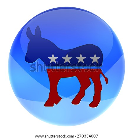 Elections button shape with Democrats party icon and text