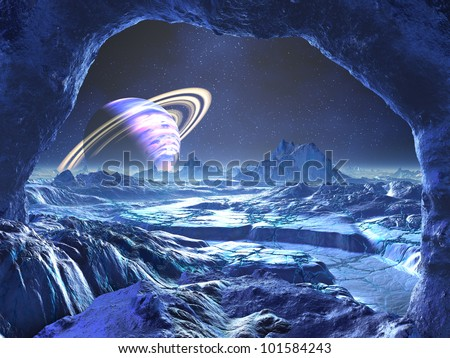 Electric Blue Alien Planet
