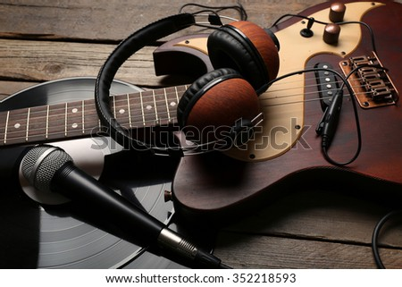 acoustic guitar headphones musical notes white stock photo 345462131 shutterstock. Black Bedroom Furniture Sets. Home Design Ideas