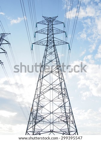 electric high voltage power post with blue sky.
