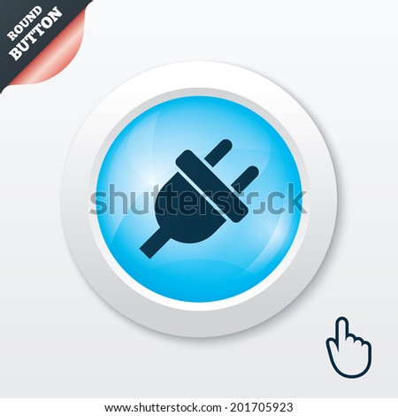 Electric plug sign icon. Power energy symbol. Blue shiny button. Modern UI website button with hand cursor pointer.