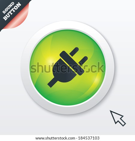 Electric plug sign icon. Power energy symbol. Green shiny button. Modern UI website button with mouse cursor pointer.