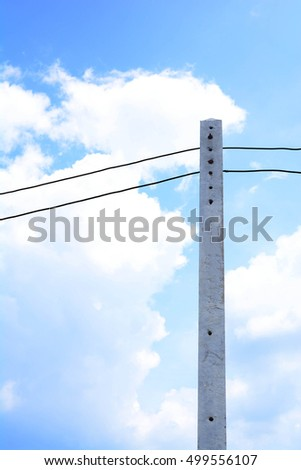 electric pole and electric wire  with blue sky