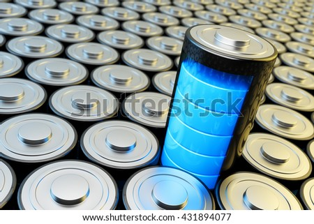Electrical energy and power supply source concept, background with batteries and accumulator battery with blue charging level closeup view, 3d illustration