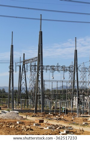 Electrical high voltage outdoor switchgear under-construction.