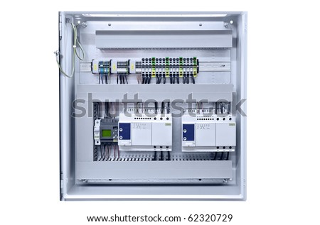 electricity distribution box wires circuit breakers stock photo Modern Fuse Box electricity distribution box with wires and circuit breakers (fuse box) modern fuse boxes