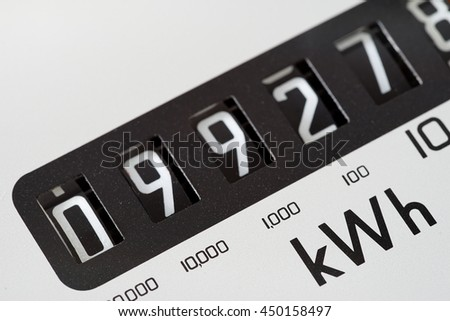 Electricity meter dial close-up and showing Kilowatt hour.