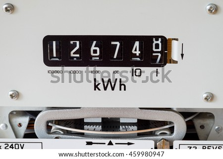 Electricity meter showing kilowatt hour symbol and measuring dial.