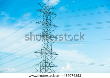 electricity pole on blue sky background