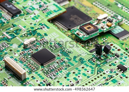 Electronic circuit,  microchip on green board