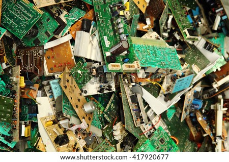 electronic circuits garbage as background from recycle industry