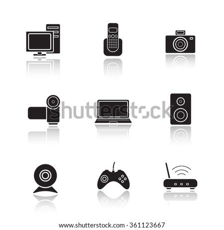 Electronic equipment drop shadow icons set. Digital photo and video cameras. Black cast shadow silhouettes illustrations isolated on white. Computer technology items. Raster infographics elements