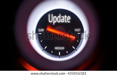 Electronic gauge displaying a Update Concept