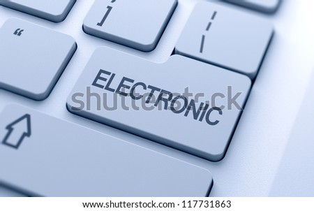 Electronic text button on keyboard with soft focus