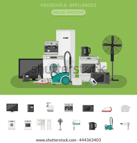 Household appliances banner vector flat icons stock vector for Household appliances design