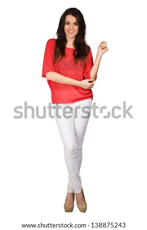 Elegance woman in red blouse