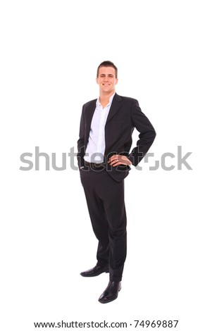Elegant business man in a suit - isolated over a white background