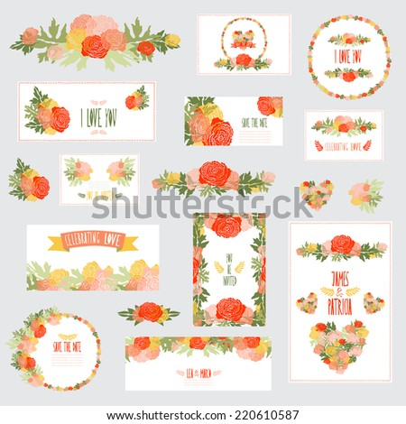 Elegant cards with floral ranunculus bouquets and wreath, design elements. Can be used for wedding, baby shower, mothers day, valentines day, birthday cards, invitations. Vintage decorative flowers.