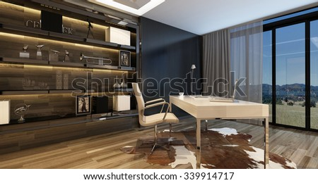 Elegant home office interior with a modern desk overlooking large windows with a view onto countryside and stylish cabinetry on the wall, illuminated by overhead lighting. 3d Rendering.