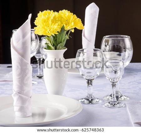 Yellow Tulips Vase Glasses Wine Home Stock Photo 22977961