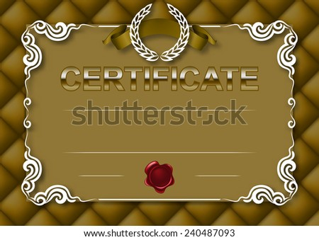 Elegant template of diploma with decoration of lace pattern, ribbon, wax seal, laurel wreath, texture, place for text. Certificate of achievement, education, awards, winner.  Illustration