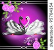 Elegant white and black swan on violet background with roses. Raster version of vector. - stock photo