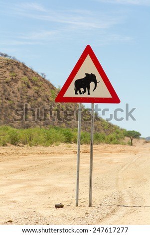 Elephant sign in Namibia