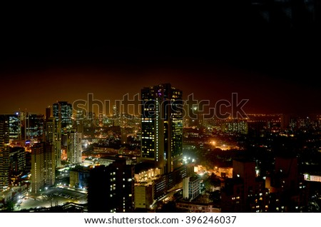 Elevated view of Mumbai India at night