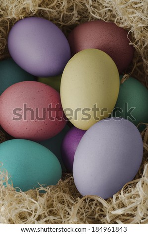 Elevated View Of Painted Easter Eggs In Various Hues Grouped And Nested Dried Grass