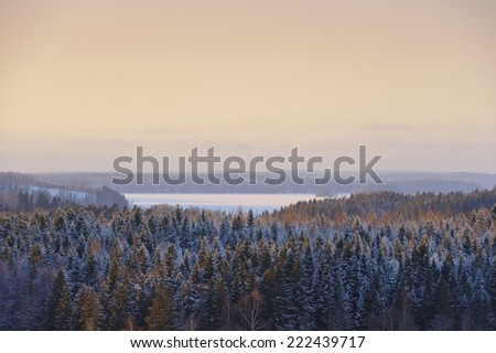Elevated view over snow covered forests and frozen lake at sunset. The temperature is below -20 C creating a particular atmosphere