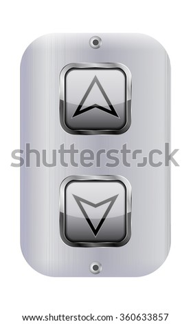 Elevator buttons. Lift panel.  Raster version. Illustration isolated on white background.