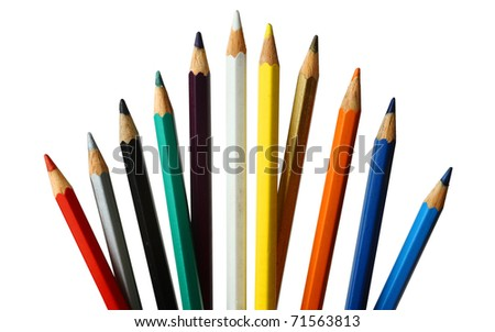 Eleven colored pencils on white background. Isolated.