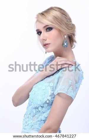 Beautiful Nice Lady Blonde Hair Snow Stock Photo 466935245 ...